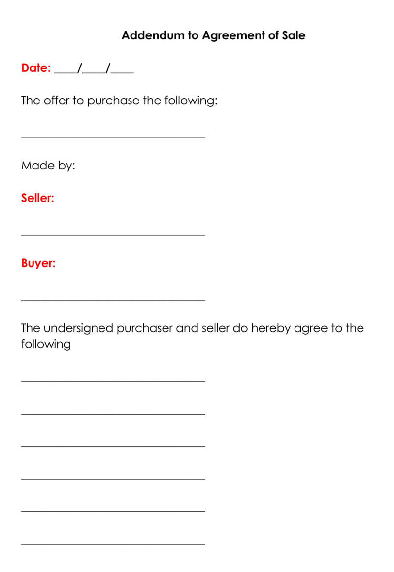 Addendum to Agreement of Sale Form