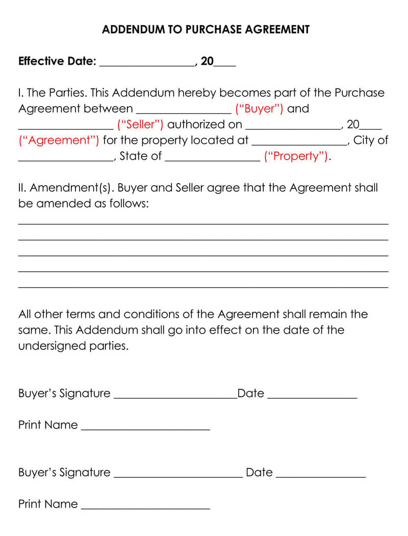 Addendum to Purchase Agreement Free Templates