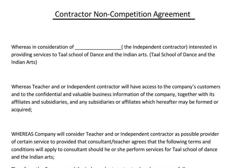 Contractor-Non-Competition-Agreement-Template