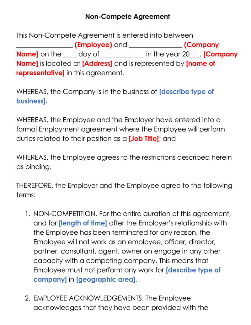 Free Employee Non Compete Agreement Templates Word Pdf
