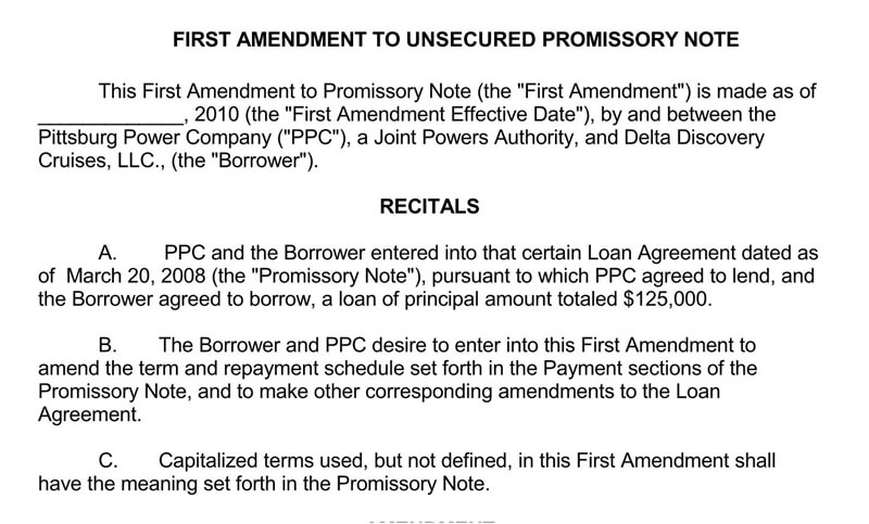 First-Amendment-to-Unsecured-Promissory-Note-Template