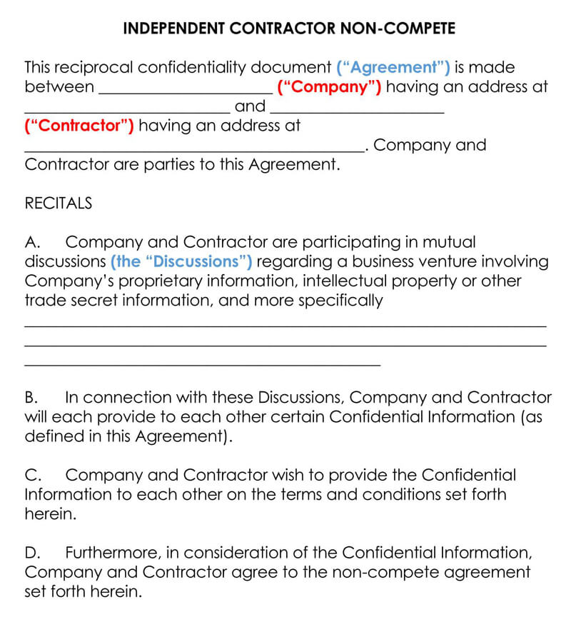 Independent-Contractor-Non-Compete-Agreement