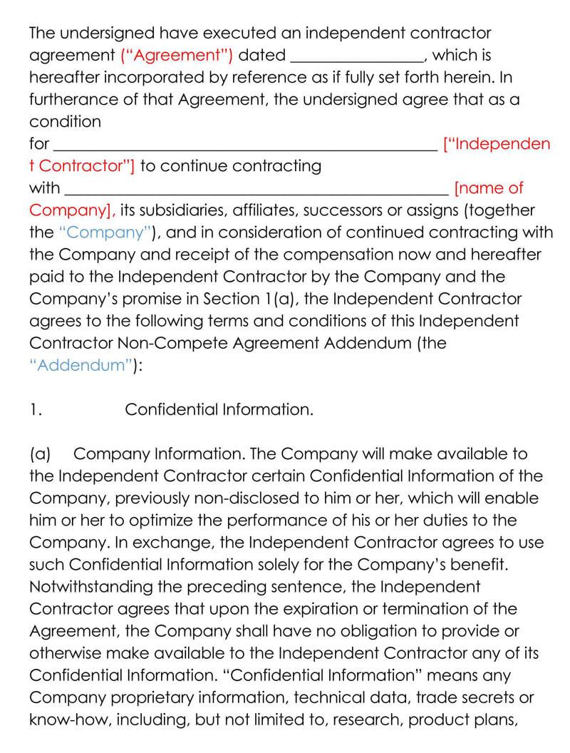 Independent-Non-Compete-Agreement-Addendum