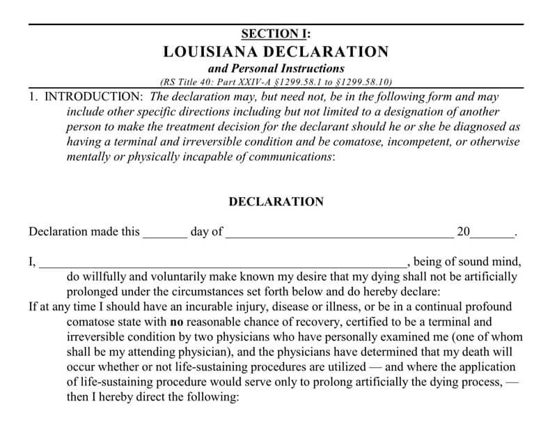 Living Will Form (Louisiana) 01