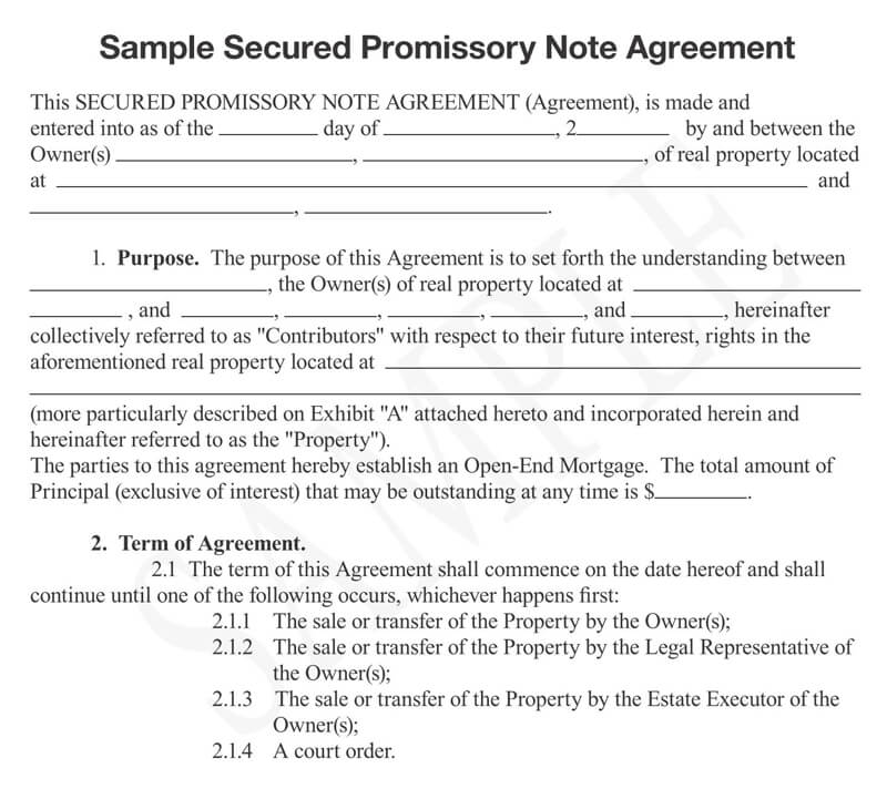 Secured Promissory Note Free Templates Examples
