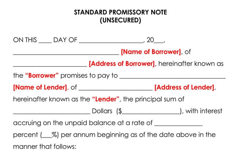Standard-Promissory-Note-Template