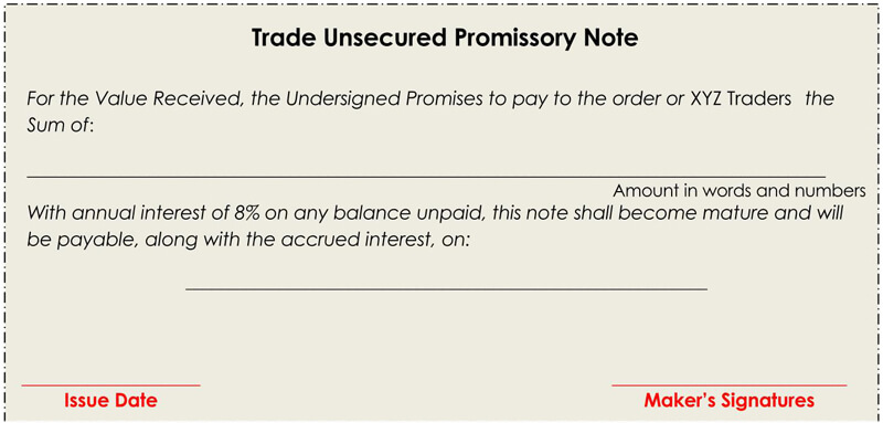 Trade-Unsecured-Promissory-Note-Form
