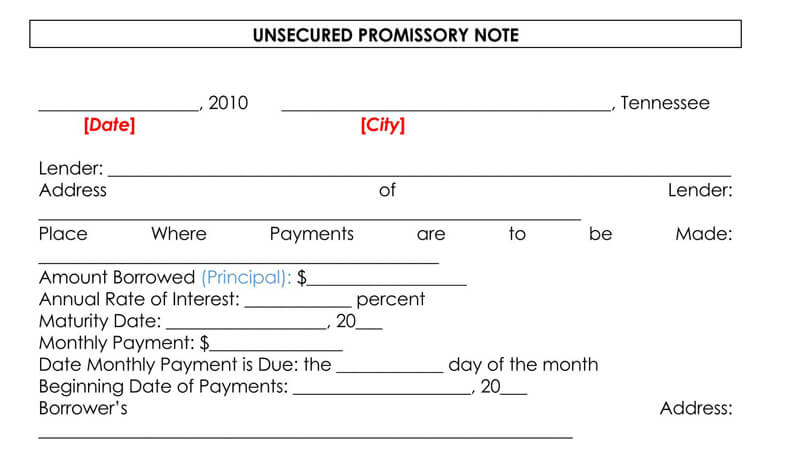 Unsecured-Promissory-Note-Template-Sample