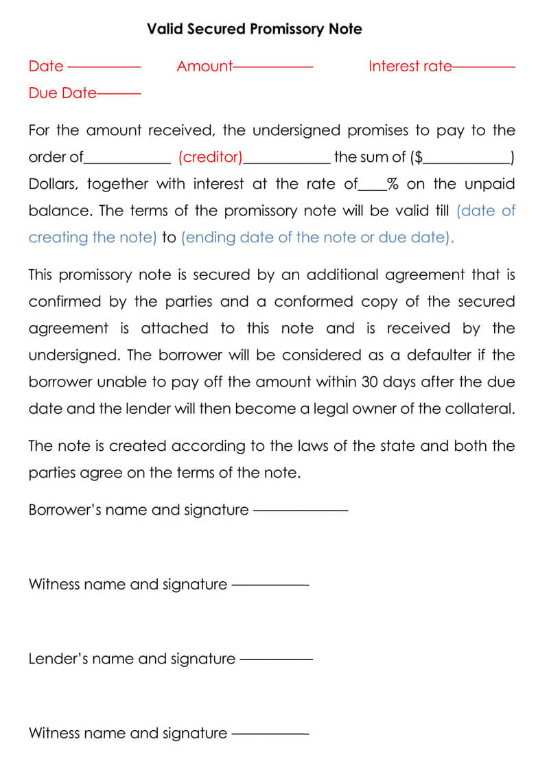 Valid-Secured-Promissory-Note-Template