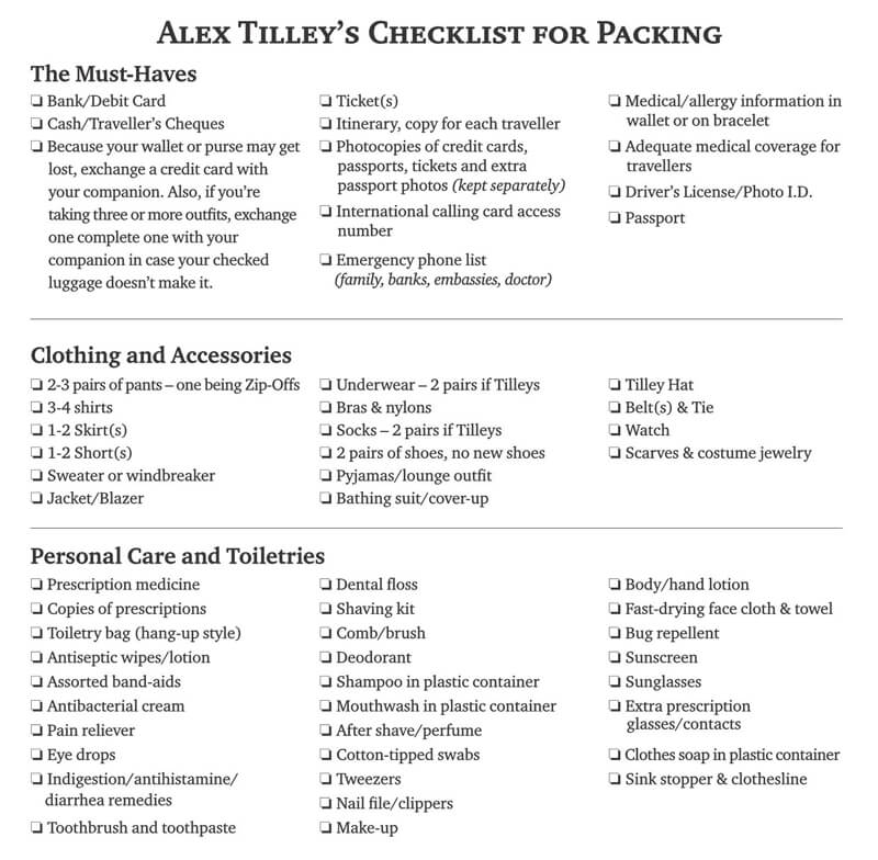 Alex Tilley's Checklist for Packing