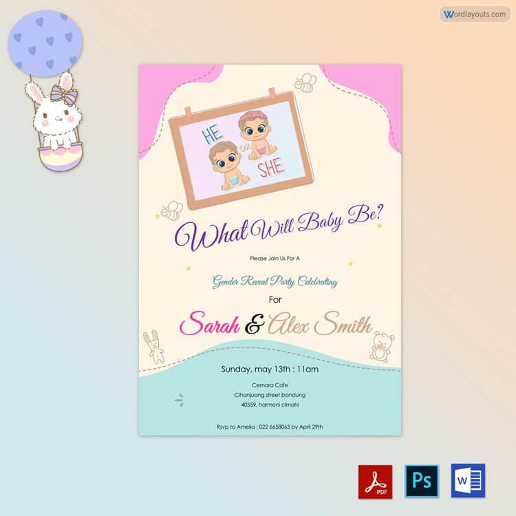Baby Gender Reveal Invitation Free