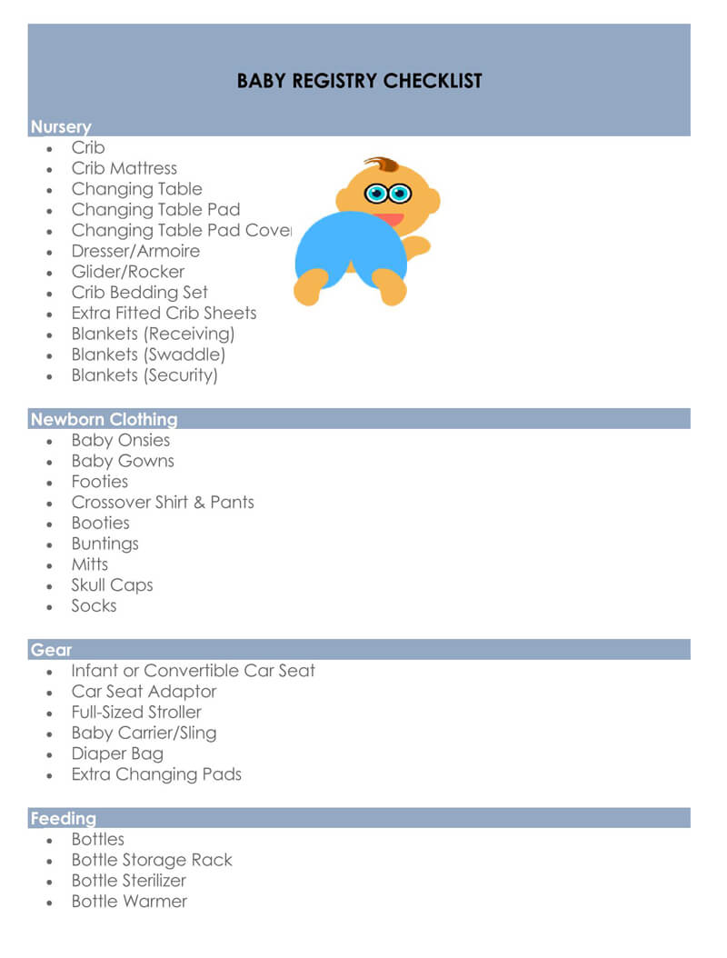 Baby Registry Word Checklist Template 01