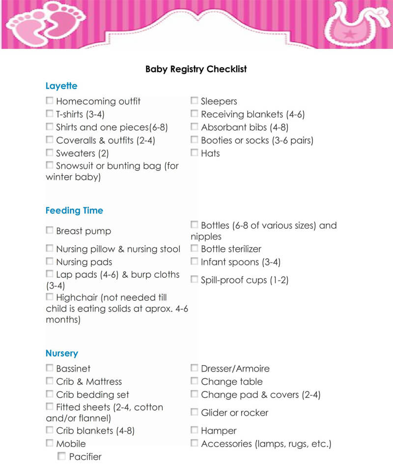 Baby Registry Word Checklist Template 06