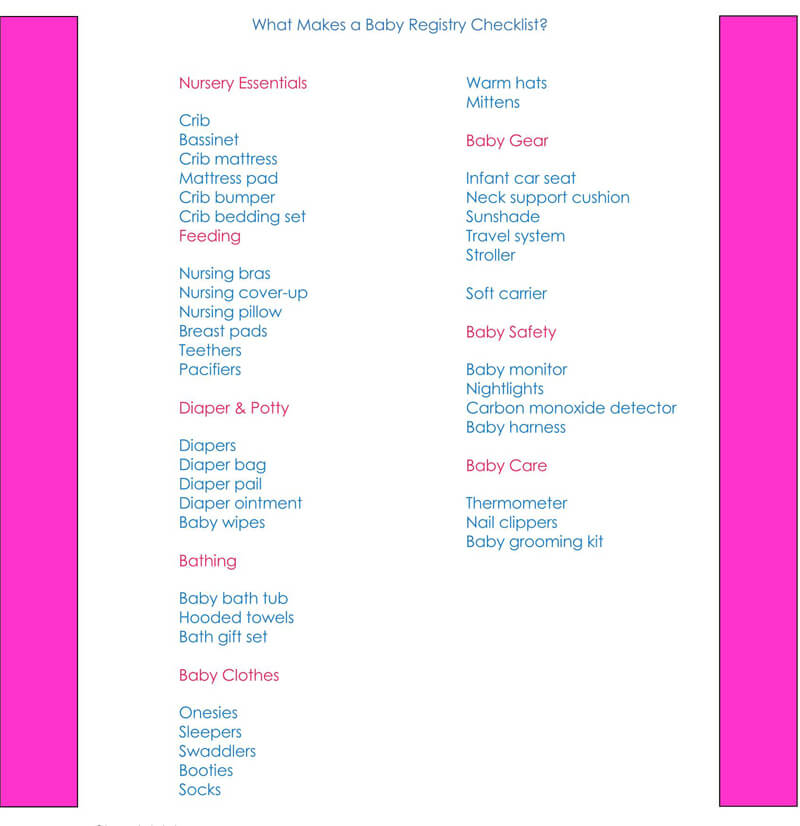 Baby Registry Word Checklist Template 08