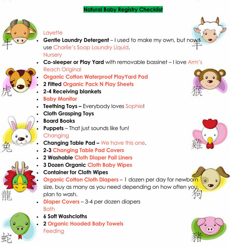 Baby Registry Word Checklist Template 18