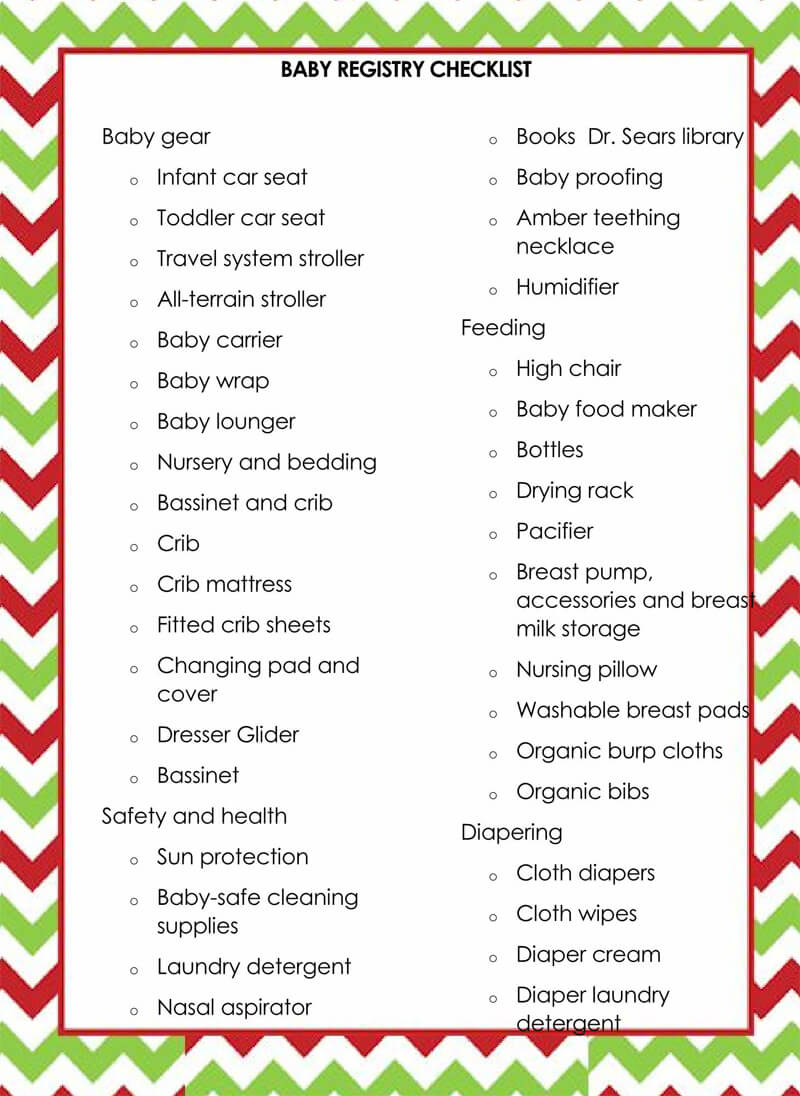 Baby Registry Word Checklist Template 19