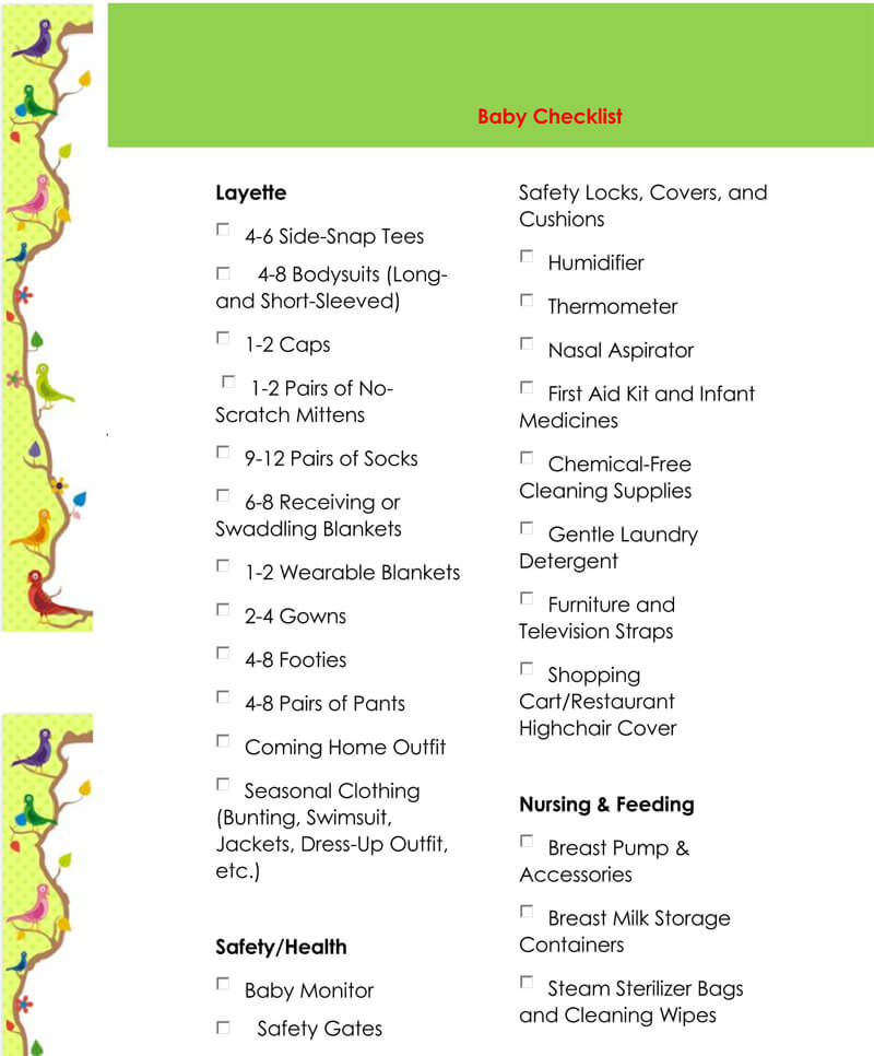 Baby Registry Word Checklist Template 22