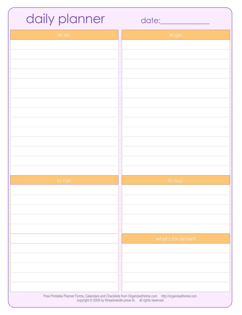 30+ Free Daily Planner Templates for Word, Excel & PDF