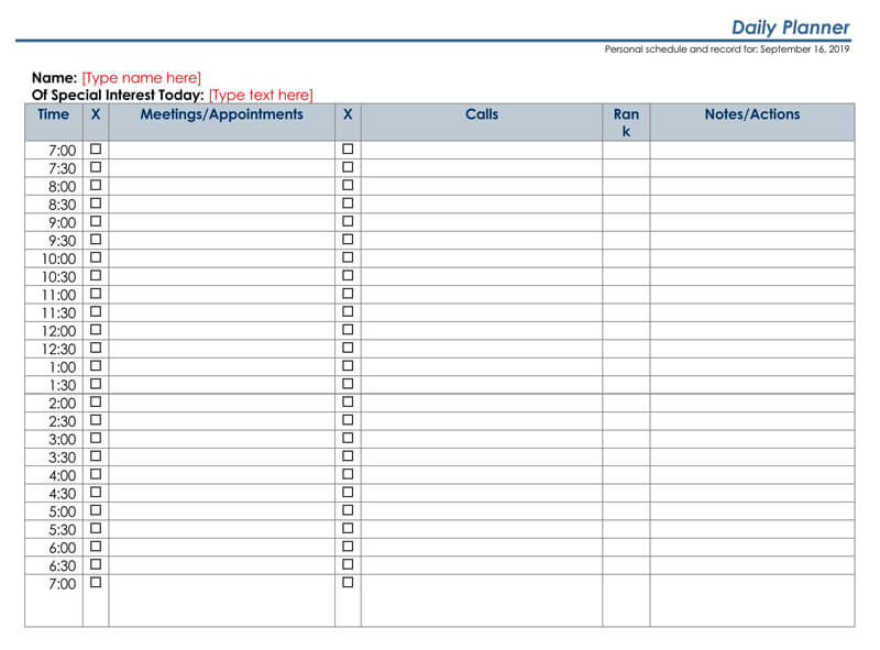 Daily Planner Word Template 02