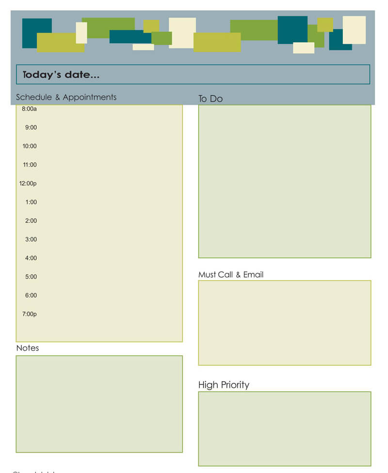 Daily Planner Word Template 06