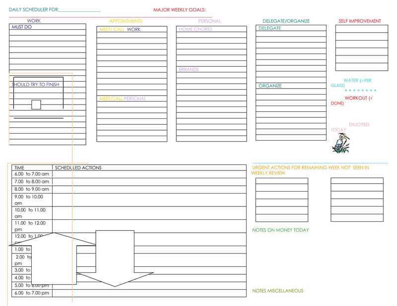 Daily Planner Word Template 09