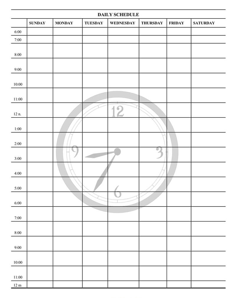 Daily Schedule Planner PDf Template