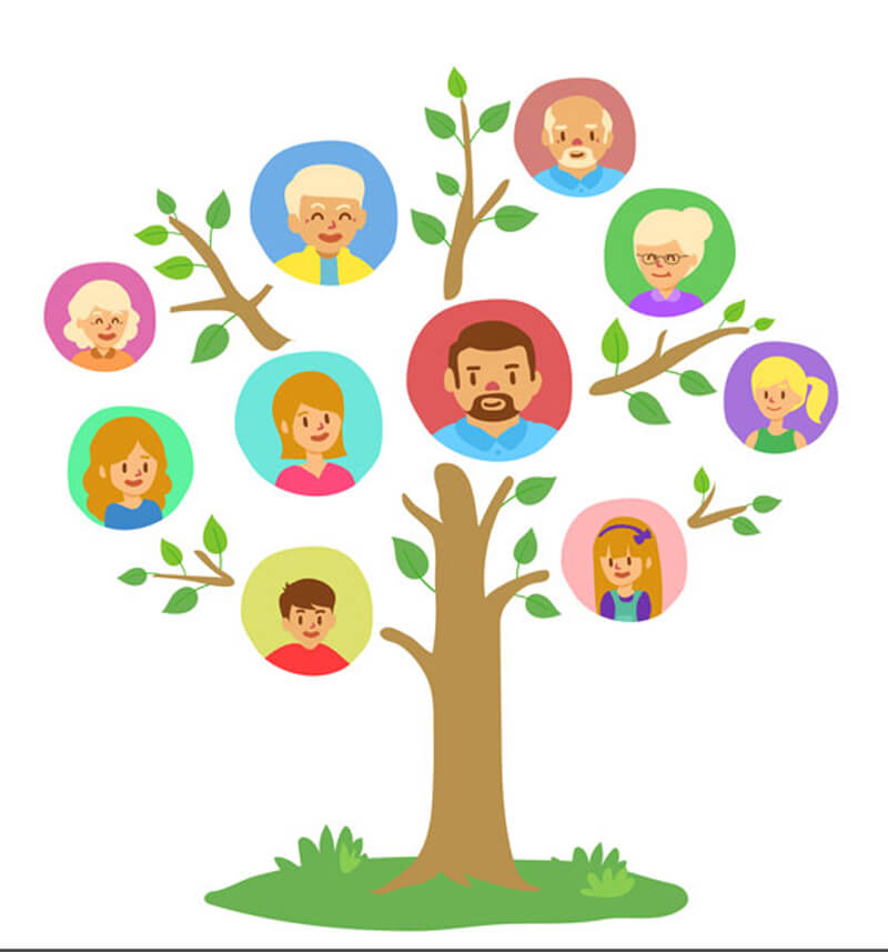 Family Tree Template with Colored Circles