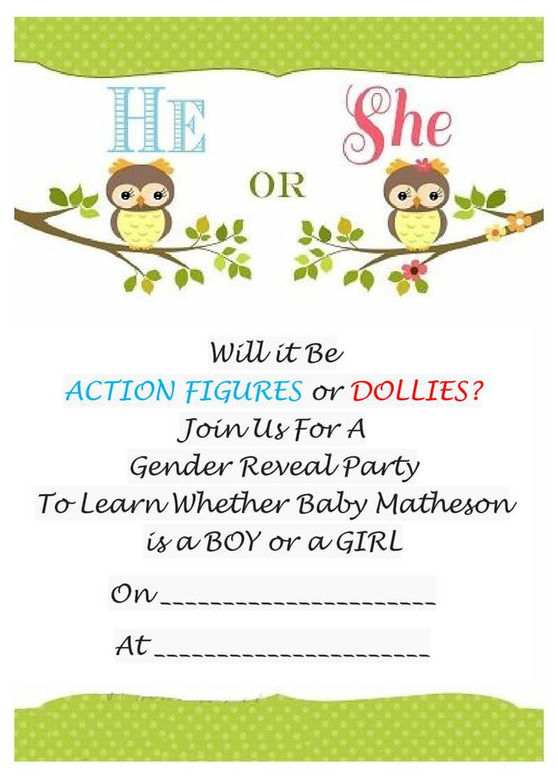 Gender Reveal Invitation Word Template  02
