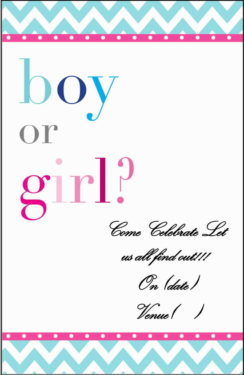 Gender Reveal Invitation Word Template  16