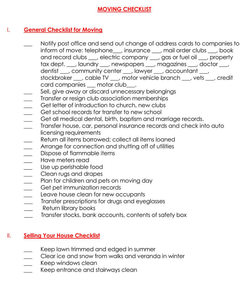 General Moving Checklist