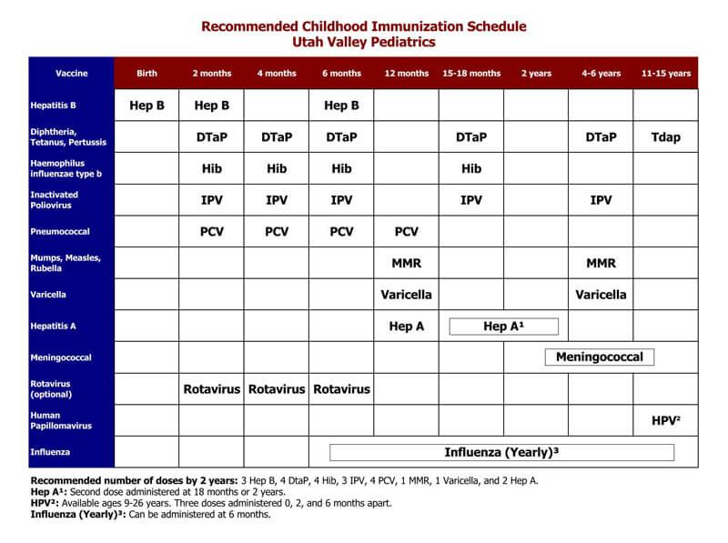 Immunization Schedule PDF Chart 18