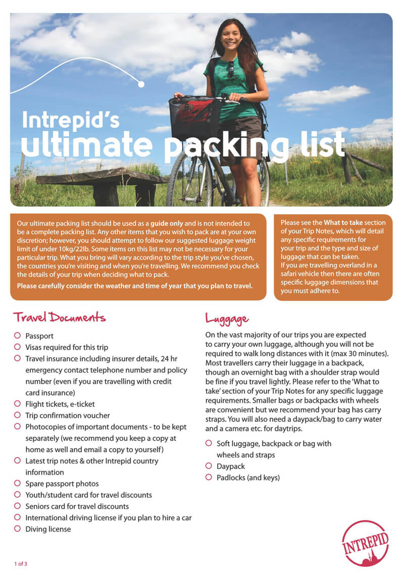 Interpid's Ultimate Packing List