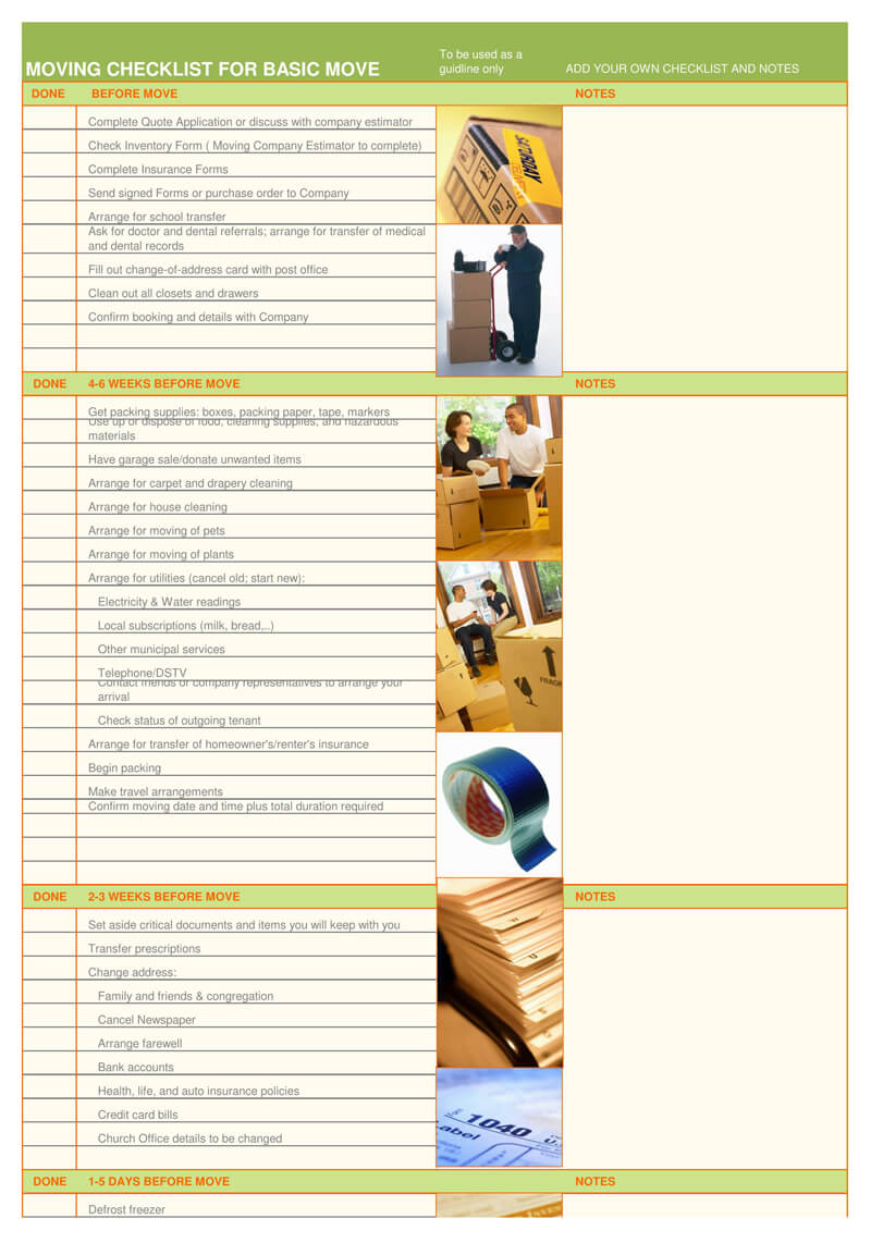 Moving Checklist For Basic Move