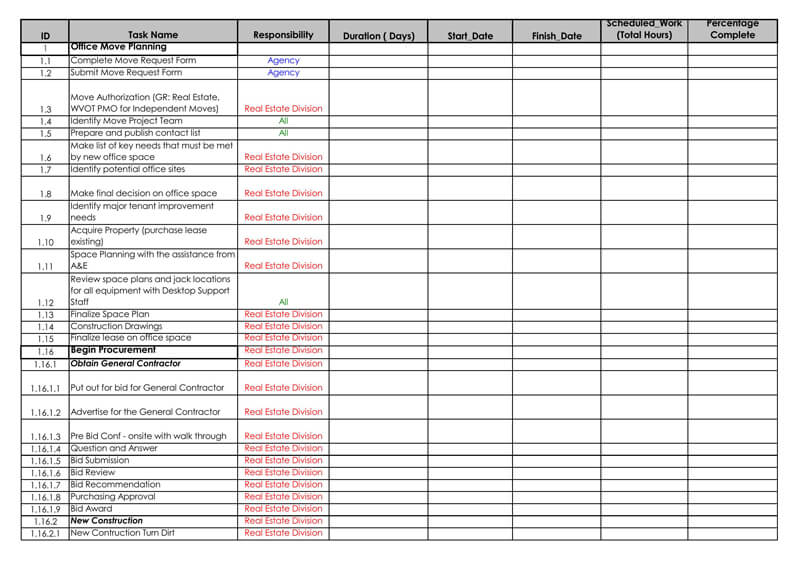 Office Move Planning Excel Checklist