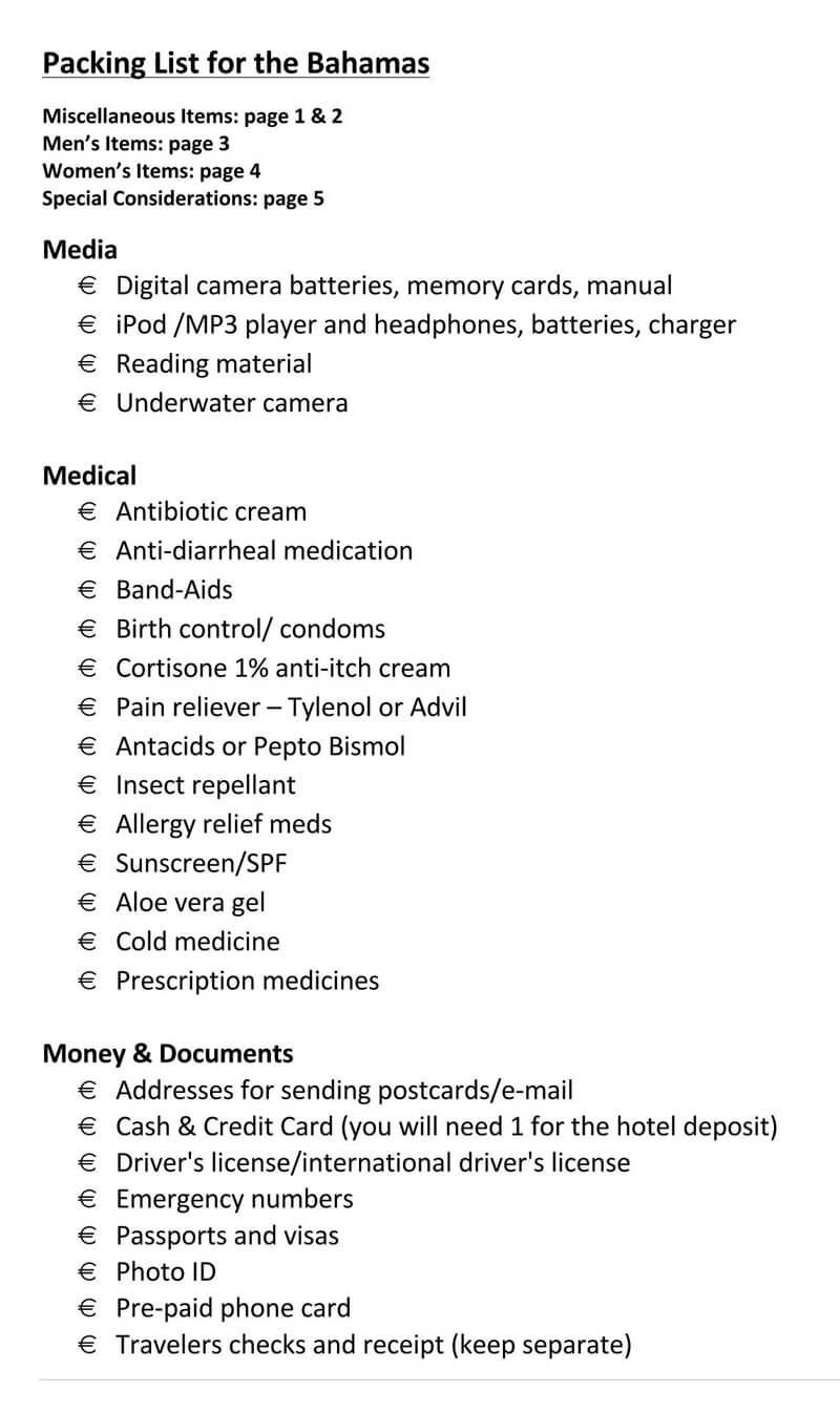 Packing List for The Bahamas