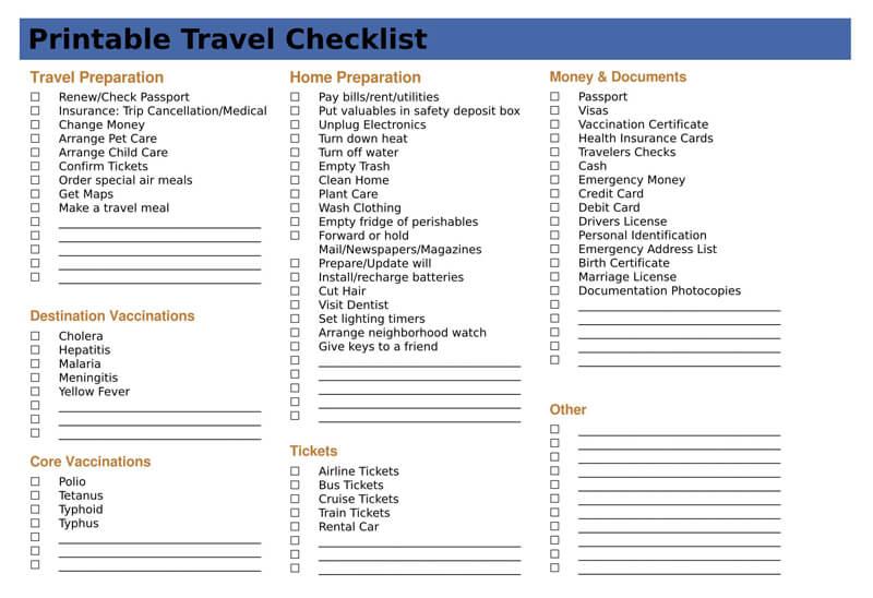 Printable Travel PDF Checklist