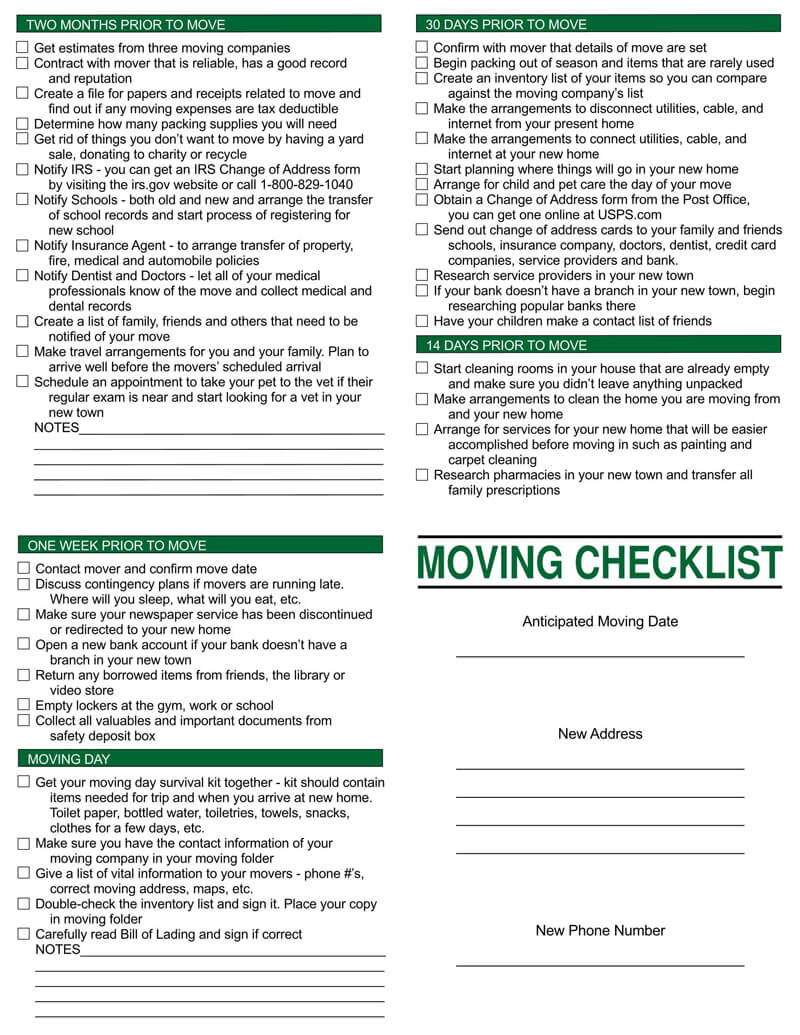 Prior to Move Checklist