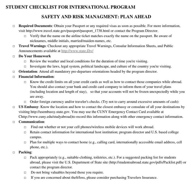 Student Checklist for International Program