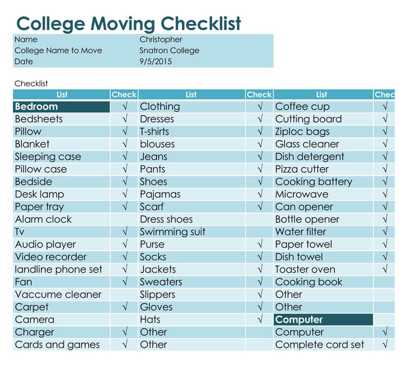 The College Moving Excel Checklist