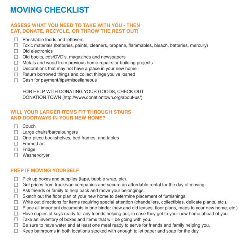 The Moving Checklist PDF Template