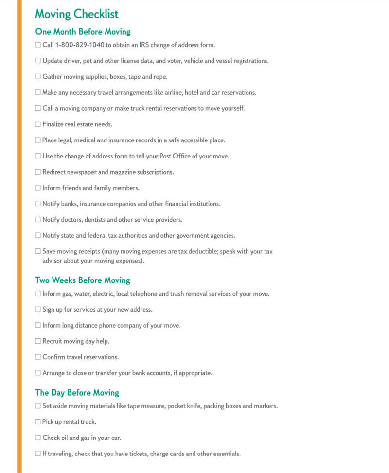 The Moving Checklist Template 02