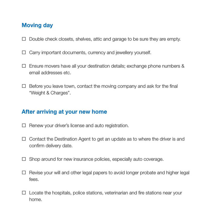 The Moving Day Checklist