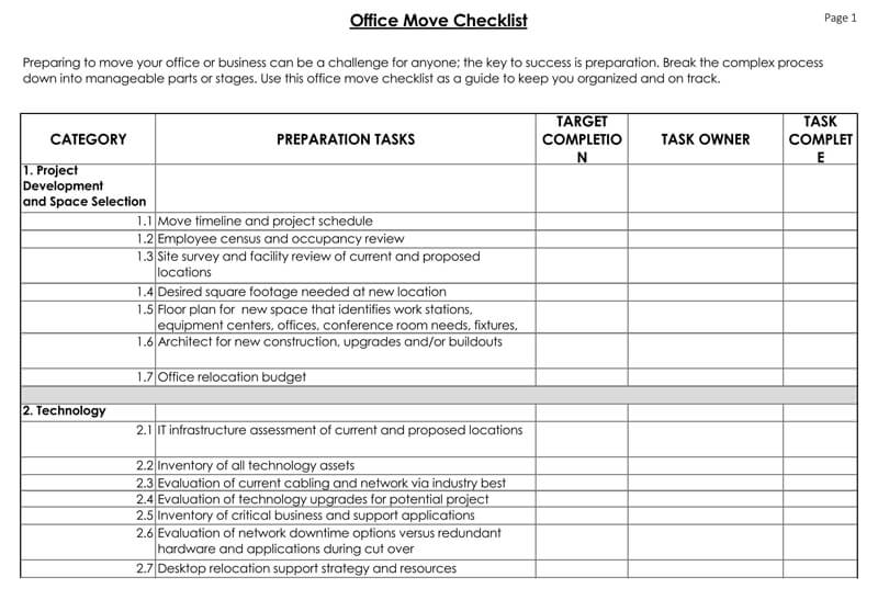 The Office Move Excel Checklist