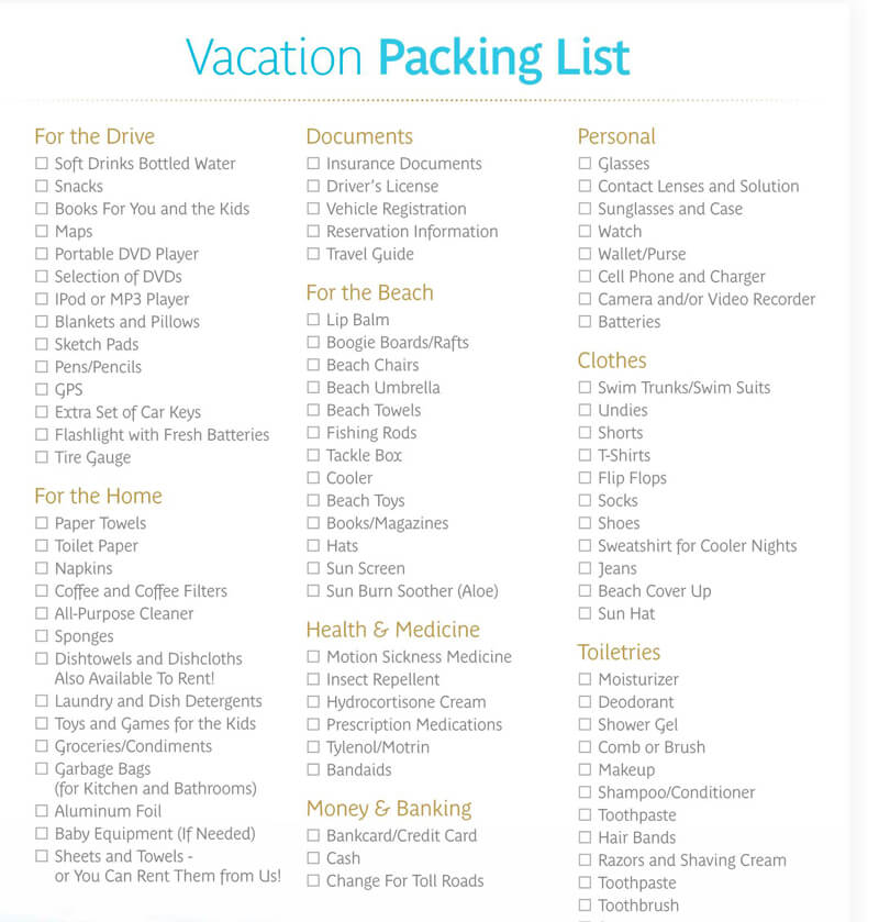The Vacation Packing List
