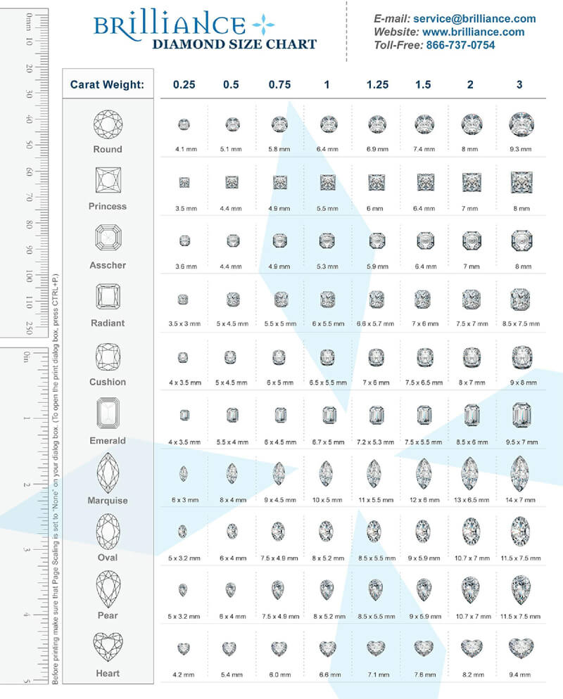 Brilliance Diamond Size Chart