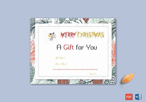 Christmas Gift Certificate – White, Red Themed