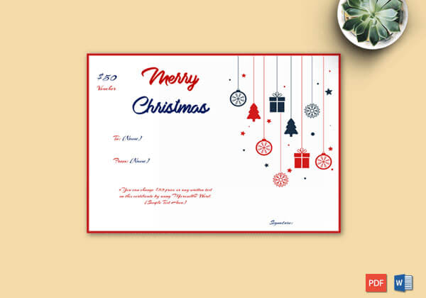 Christmas Gift Certificate Hanging Ornaments