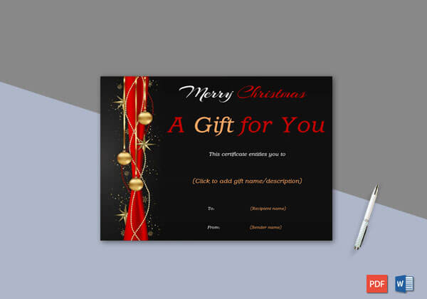 Christmas Gift Certificate Black Red Themed