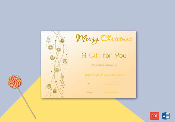 Christmas Gift Certificate Yellow Brown Themed