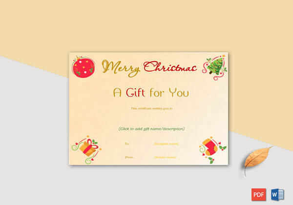 Christmas Gift Certificate Ornaments Themed
